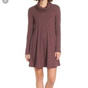 Socialite cowl neck purple sweater dress S